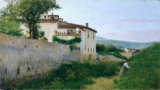 Stock Photo: 1788-49627 A view of Piagentina, 1863, by Silvestro Lega (1826-1895), oil on canvas, 44x80 cm.