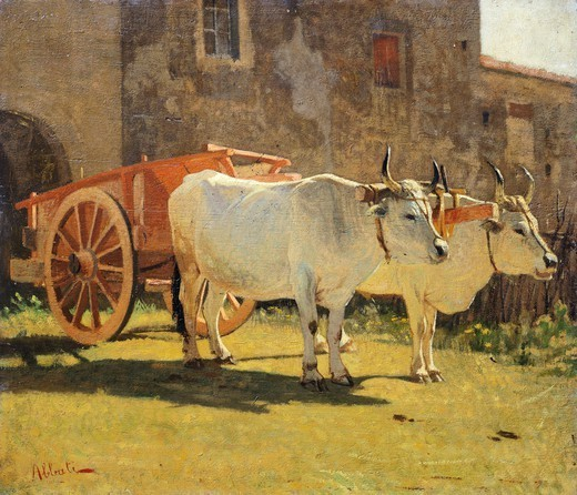 Stock Photo: 1788-49650 Oxen and a wagon, by Giuseppe Abbati (1836-1868), oil on panel, 29.5x34 cm.
