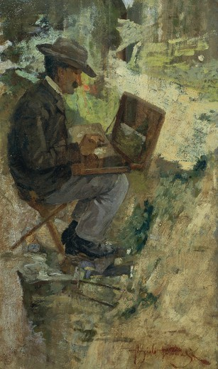 Stock Photo: 1788-49694 Portrait of Silvestro Lega painting, by Angiolo Tommasi (1858-1923), oil on panel.