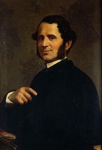 Stock Photo: 1788-49708 Portrait of the painter, Francesco Gandolfi, by Santo Bertelli (1840-1892).