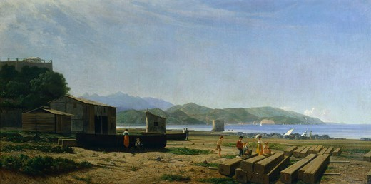 The gulf of La Spezia, 1864-1867, by Tammar Luxoro (1825-1899). : Stock Photo