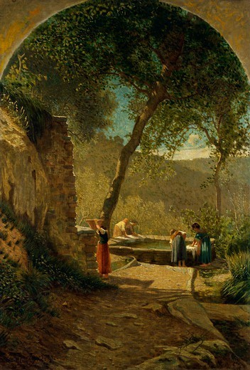 Stock Photo: 1788-49711 Where they can find the village gossip, by Ernesto Rayper (1840-1873).