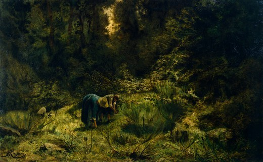In search of firewood, by Ernesto Rayper (1840-1873). : Stock Photo