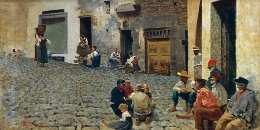Stock Photo: 1788-49742 Idle hours in Riomaggiore, 1892-1894, by Telemaco Signorini (1835-1901).