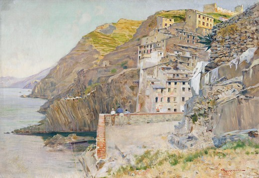 Stock Photo: 1788-49743 View of the Riomaggiore countryside, by Telemaco Signorini (1835-1901).