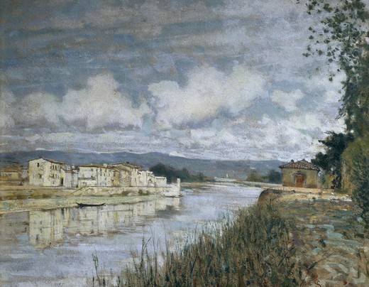 Stock Photo: 1788-49745 Bordering the Arno, 1890, by Telemaco Signorini (1835-1901), oil on cardboard, 40x50 cm.