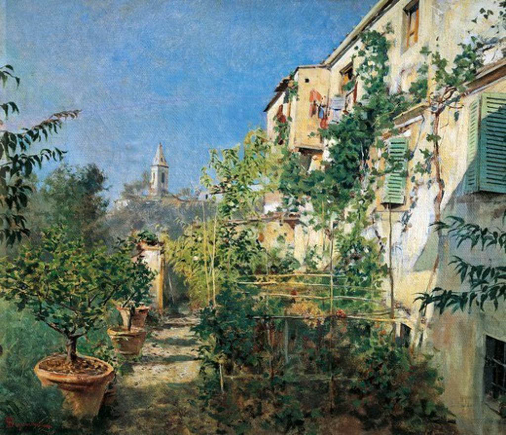 Stock Photo: 1788-49746 Settignano Garden, by Telemaco Signorini (1835-1901).