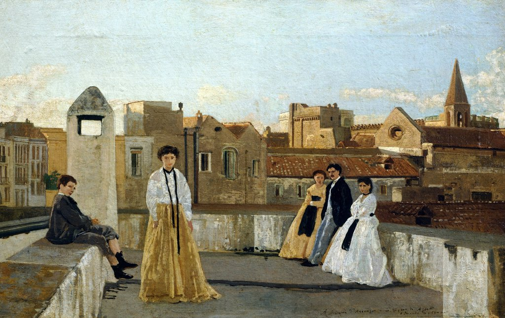 Stock Photo: 1788-49758 The terrace, by Edoardo Dalbono (1841-1915), oil on panel, 45x30 cm.