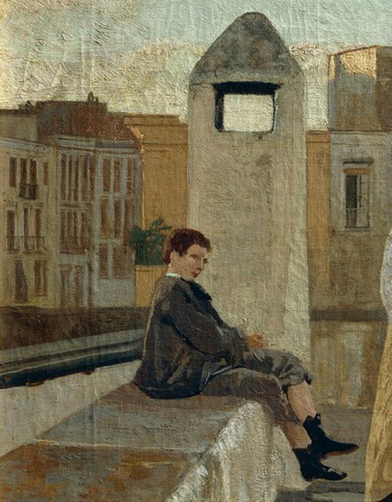 The terrace, by Edoardo Dalbono (1841-1915), oil on panel, 45x30 cm. Detail. : Stock Photo