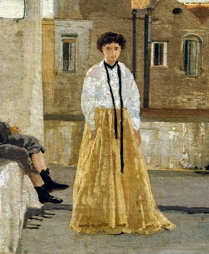 Stock Photo: 1788-49761 The terrace, by Edoardo Dalbono (1841-1915), oil on panel, 45x30 cm. Detail.