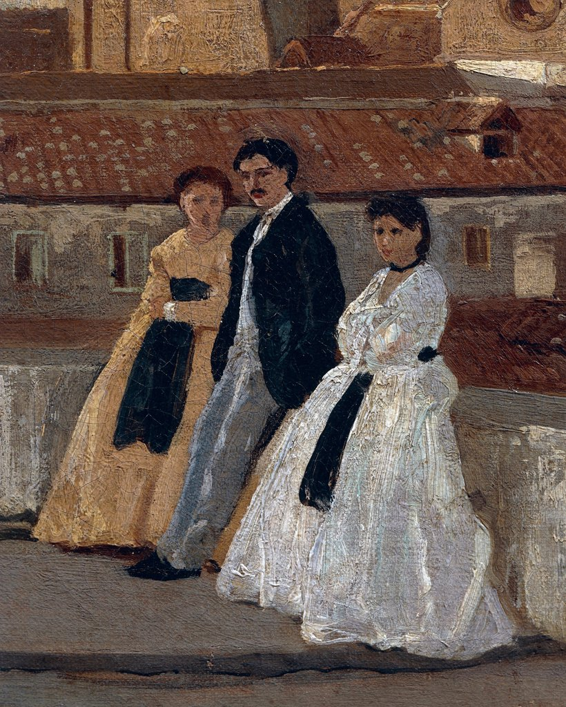 The terrace, by Edoardo Dalbono (1841-1915), oil on panel, 45x30 cm. Detail. : Stock Photo
