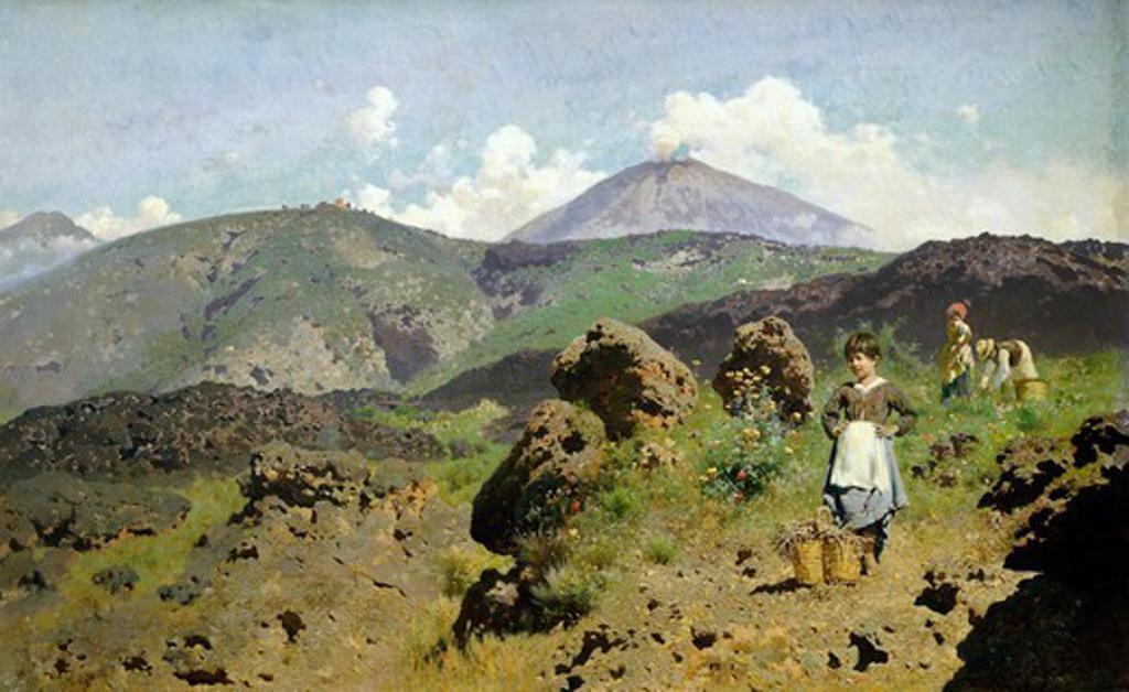 Stock Photo: 1788-49764 Near Vesuvius, by Francesco Lojacono (1841-1915), oil on canvas, 58x96 cm.