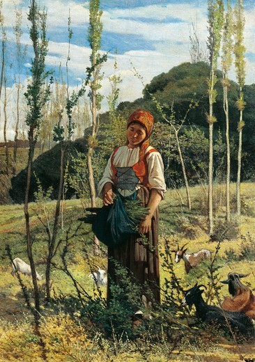 Stock Photo: 1788-49787 Farmer in the wood, 1861, by Giovanni Fattori (1825-1908), oil on canvas, 78x57 cm.