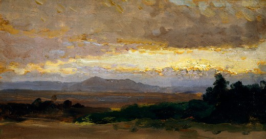 Stock Photo: 1788-49825 Landscape, by Vittorio Avondo (1836-1910), oil on panel.
