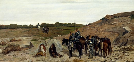 Stock Photo: 1788-49844 Episode of the campaign against brigandage, 1863, by Giovanni Fattori (1825-1908).