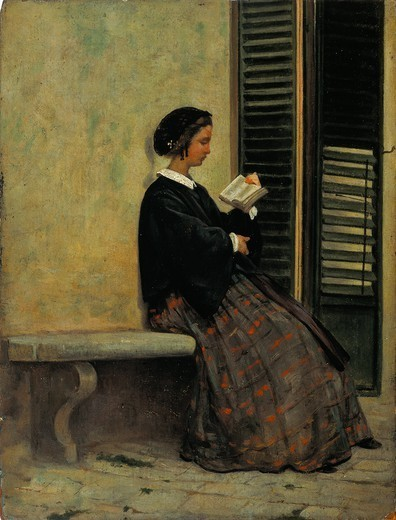Reading, 1866-67, by Silvestro Lega (1826-1895), oil on cardboard, application on wood. : Stock Photo