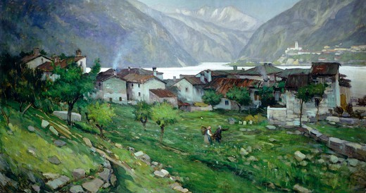 Stock Photo: 1788-49873 Raccolana (valley of the Fella), by Giuseppe Miti Zanetti (ca 1860-1929), oil on canvas, 91x173 cm.