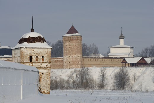 Stock Photo: 1788-4988 Russia, Golden Ring, Suzdal, Monastery of our Saviour and St. Euthimius with defensive walls
