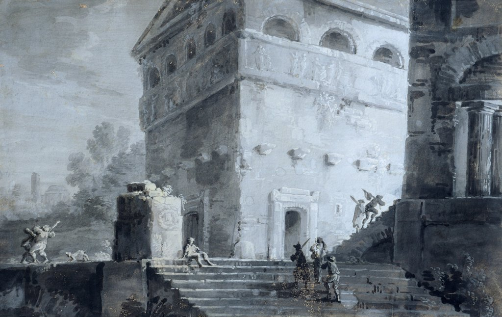 Landscape, by Pietro Piani (1779-1841), watercolor on cardboard, 38x25 cm. : Stock Photo
