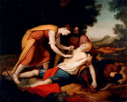 Erminia treating Tancred, by Gerolamo Costa (1777 -?). : Stock Photo