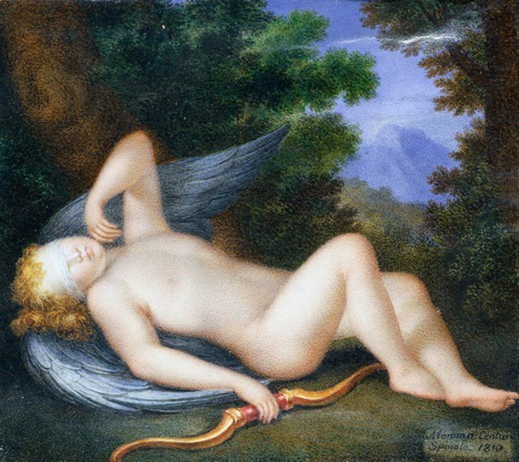 Cupid sleeping, by Maria Geronima Centurione Oltremarino (1706-1738). : Stock Photo