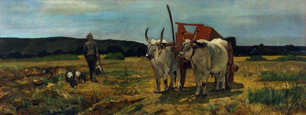 Stock Photo: 1788-49980 Maremma Tuscany, Giovanni Fattori (1825-1908), oil on canvas, 77.5X205.7 cm.
