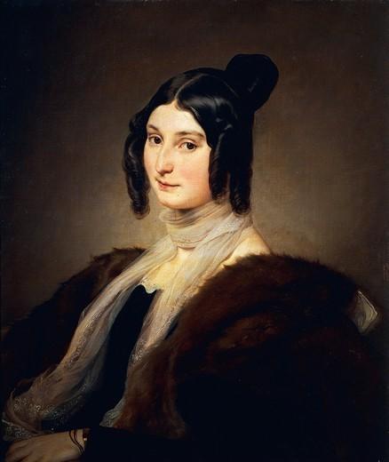 Portrait of Clara Maffei, 1845, by Francesco Hayez (1791-1882), oil on canvas, 68x58 cm. : Stock Photo