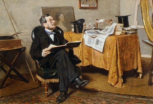 Stock Photo: 1788-50074 Interior with figure, 1866, by Giovanni Boldini (1842-1931).