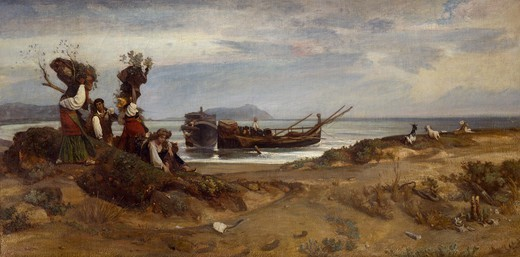 Women carrying wood in the port of Anzio, 1852, Giovanni, known as Nino Costa (1826-1903). : Stock Photo