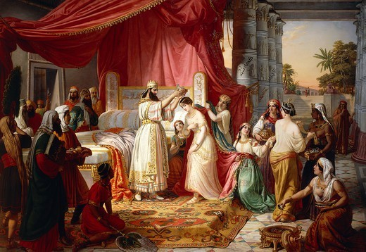 Stock Photo: 1788-50078 Coronation of Esther, 1849, Vincent Moroni (1809-1870).