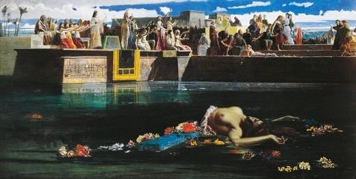 Stock Photo: 1788-50081 The sacrifice of a virgin to the Nile, 1865, by Federico Faruffini (1831-1869), oil on canvas, 125x243 cm.