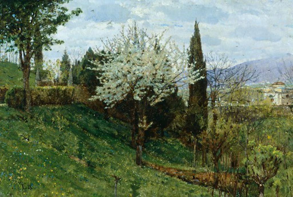 Stock Photo: 1788-50109 Almond Blossom (Pax), by Luigi Nono (1850-1918), oil on panel, 40x28 cm.
