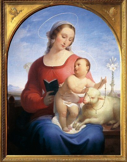 Our Lady of the Rosary, 1840, by Tommaso Minardi (1787-1871), oil on canvas, 108x82 cm. : Stock Photo