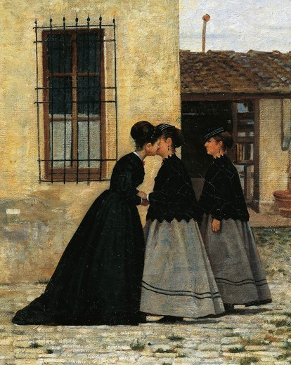 Stock Photo: 1788-50131 The visit, by Silvestro Lega (1826-1895). Detail.
