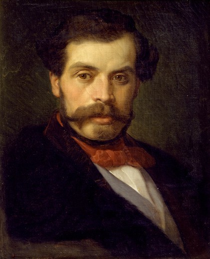 Portrait of Gaetano dell'Acqua, by Nicola Consoni (1814-1884). : Stock Photo