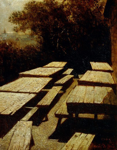 Stock Photo: 1788-50138 Moon on the tables in a tavern (Moonlight), by Mario De Maria (1852-1924).