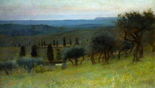 Sunrise in the morning, by Norberto Pazzini (1856-1937). : Stock Photo