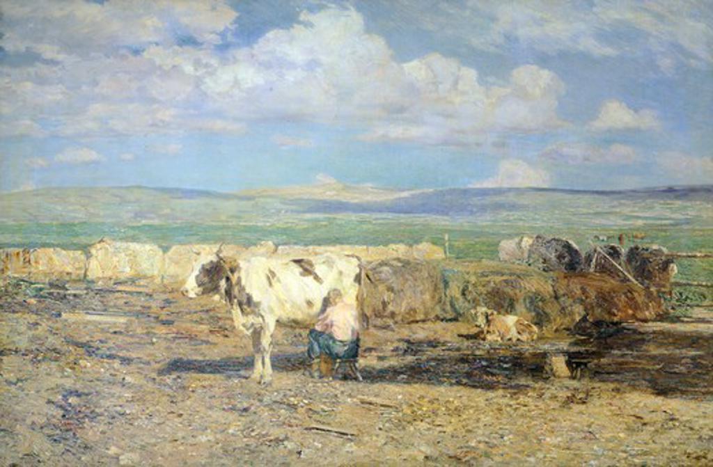 Alpine landscape with a white cow, Beppe Ciardi (1875-1932). : Stock Photo