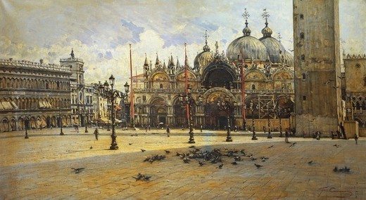 St Mark's Square, 1882, by Filippo Carcano (1840-1914), oil on canvas. : Stock Photo