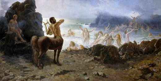 Stock Photo: 1788-50143 Centaur Chiron attempting freedom, by Francesco Saverio Altamura (1826-1897).