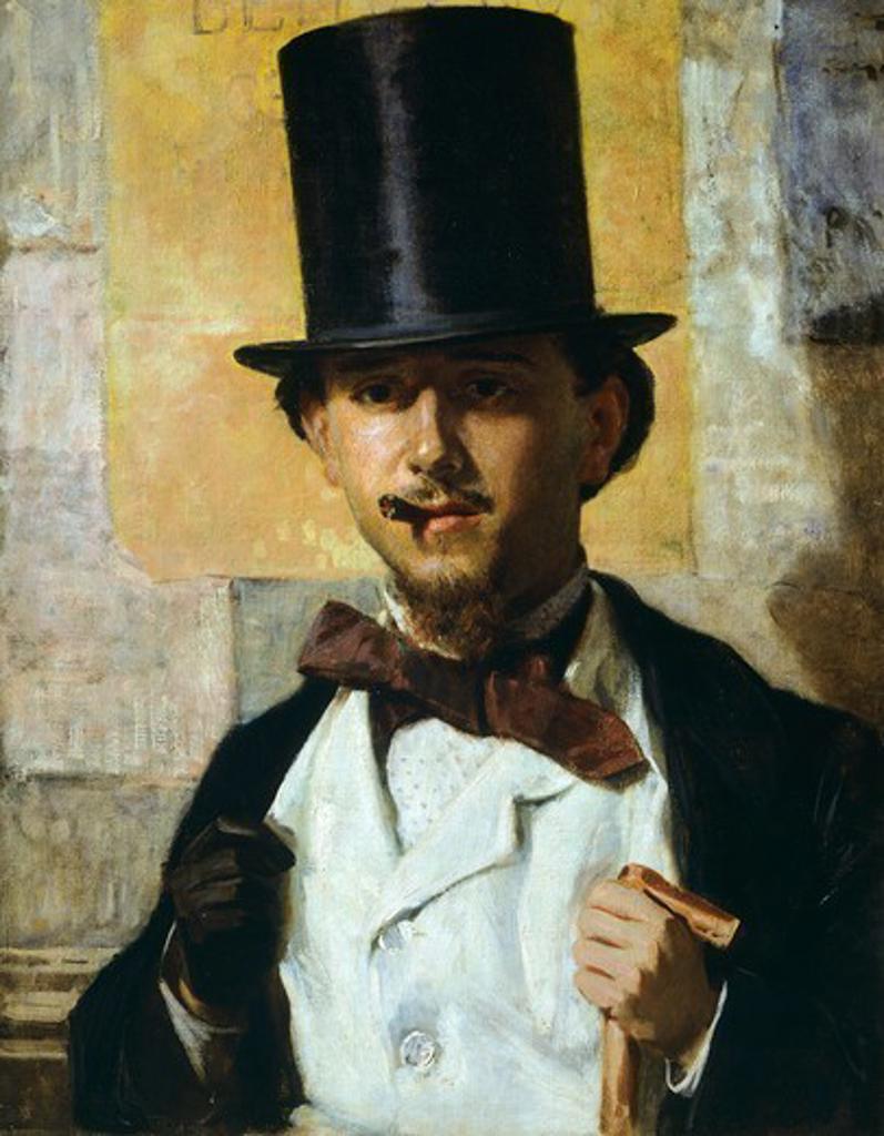 Portrait of Bernardo Celentano, 1859, by Domenico Morelli (1826-1901), oil on canvas, 67x52 cm. : Stock Photo