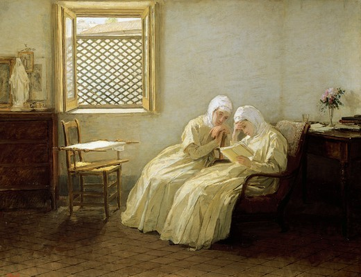 Stock Photo: 1788-50150 Romance in the convent, 1888, by Gioacchino Toma (1836-1891), oil on canvas, 72x94 cm.