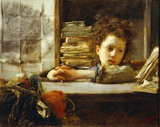 In the study, by Antonio Mancini (1852-1930), oil on canvas. : Stock Photo