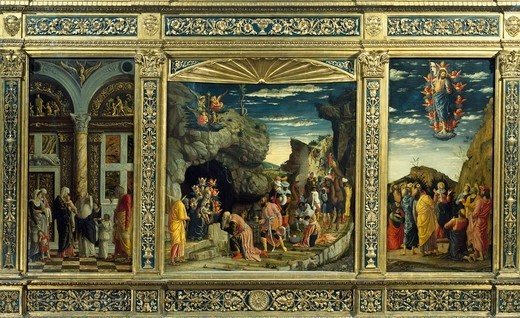 Stock Photo: 1788-50247 Triptych from the Uffizi Gallery, with the Ascension, the Adoration of the Magi and the Circumcision, 1463-1464, by Andrea Mantegna (1431-1506).empera on wood, 86x161,5 cm.