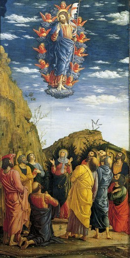 Stock Photo: 1788-50249 The Ascension, panel of the Triptych in the Uffizi with the Ascension, the Adoration of the Magi and the Circumcision, 1463-1464, by Andrea Mantegna (1431-1506). Tempera on wood, 86x161.5 cm.