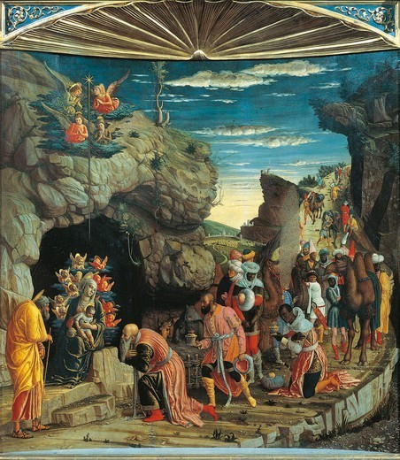 Stock Photo: 1788-50250 Adoration of the Magi, panel of the Triptych from the Uffizi Gallery, with the Ascension, the Adoration of the Magi and the Circumcision, 1463-1464, by Andrea Mantegna (1431-1506). Tempera on wood, 86x161.5 cm.