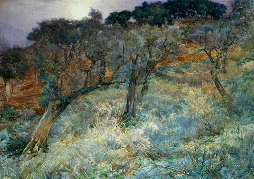 Stock Photo: 1788-50290 The olive grove, by Augusto Corelli (1853-1910).