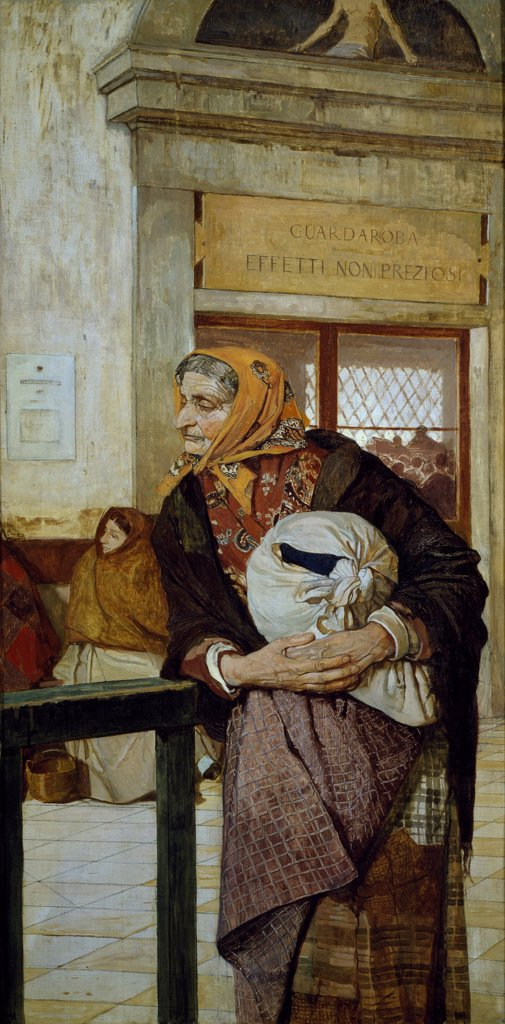 At the pawn shop, 1878, by Luigi Serra (1846-1888), oil on canvas. : Stock Photo