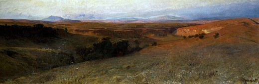 Roman sunset, 1892, by Onorato Carlandi (1848-1939), oil on canvas, 100x300 cm. : Stock Photo