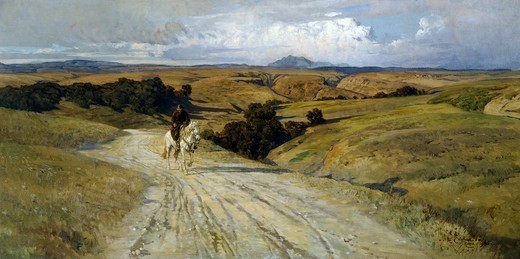 Desolate Roman countryside, by Enrico Coleman (1846-1911). : Stock Photo